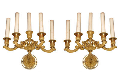Pair Antique French Louis XV Style Gilt Bronze Neoclassical Sconces