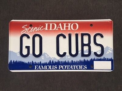 """Go Cubs"" License Plate, Idaho (Red, white, & blue)"