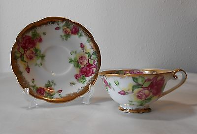 """Original Napco China Hand Painted Cup & Saucer """"SD141"""""""