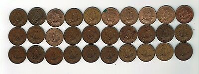 All 30 different George VI half pennies : 1937 - 1967