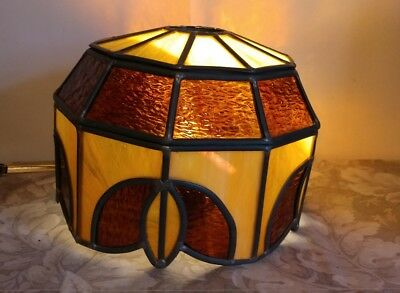 """Vtg Stained Glass Leaded / Slag Lampshade / Tiffany Style/ 10"""" Diameter"""