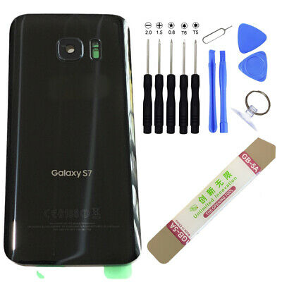 Samsung Galaxy S7 G930 Back Housing Battery Cover Rear Door Glass+TOOLS Black