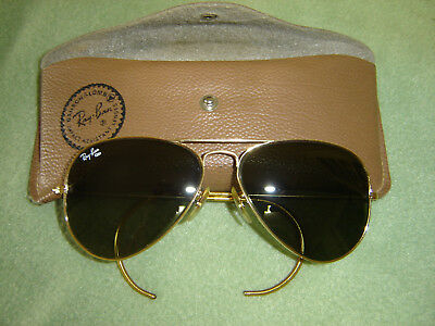 204603c9b2 VINTAGE RAY-BAN GP B L Aviator Sun Glasses Wrap Around ear 58-14 W ...