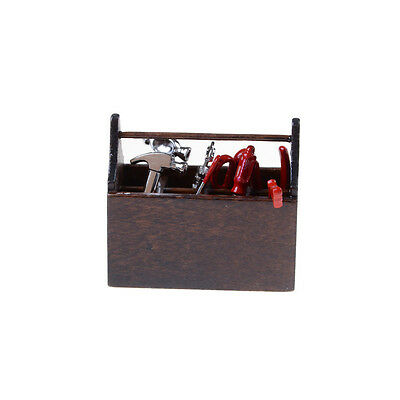 1:12 Scale Dollhouse Miniature Fooden Box Metal Hand Tools Set