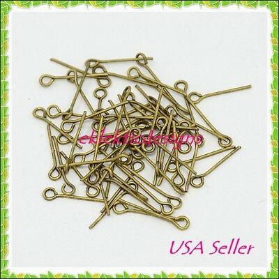 18mm 150pcs Antique Brass Bronze Eyepins Head Jewelry Findings Earrings Necklace
