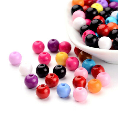 200pcs Colorful Solid Chunky Acrylic Beads Round Loose Beads Round Beading 8mm