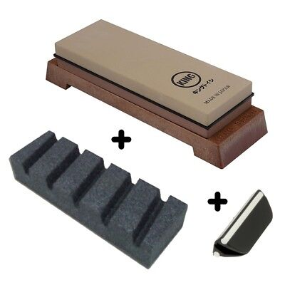 King 1000/6000 Grit Whetstone Japanese Knife Sharpening Stone - KW-65 Combi Set