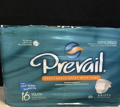 "(2 Pack) Prevail 16 Youth 15""-22"" Sized Briefs: Maximum Absorbency"