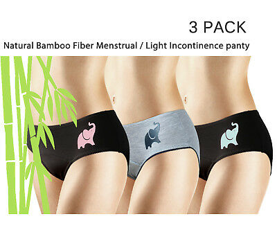 NEW 3 PACK NATURAL BAMBOO Skin-Friendly Absorbent Menstrual Period Panty