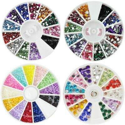 Nail Art Decoration Wheel Rhinestones Gem Pearl Mixed-Shape Buy 1 Get 1 Free