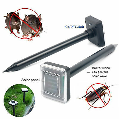 2 Yard Solar Power Ultrasonic Sonic Mouse Mole Pests Rodent Repeller Repellent