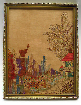 "Vintage Hand Embroidered ""Country Garden"" Picture Panel ""Red Roof Cottage"""