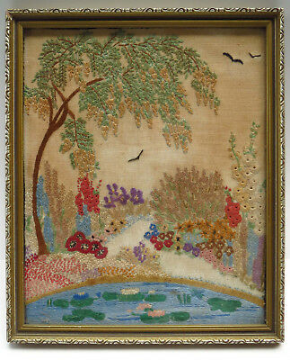 """Vintage Hand Embroidered """"Garden Pond"""" Picture Panel Raised Hand Embroidery"""