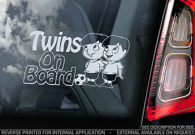 Twins on Board - Car Window Sticker - Brothers Boys Child Cartoon Decal Sign V01