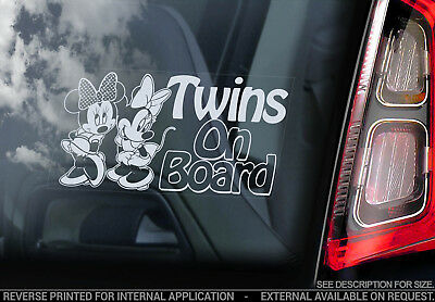 Twins on Board - Car Window Sticker - Sisters Girls Child Mickey Mouse Decal V02
