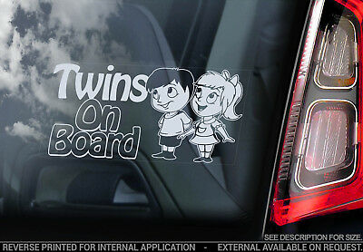 Twins on Board - Car Window Sticker- Brother Sister Child Cartoon Decal Sign V03