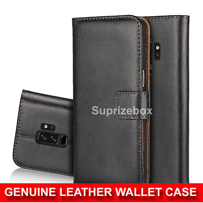 Real Genuine Leather Flip Wallet Slim Case Cover For Samsung Galaxy S9 Note 9