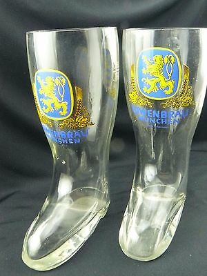 LOWENBRAU Yellow Lion on Blue Field MUNCHEN Glass Beer Boot.5L made in Germany