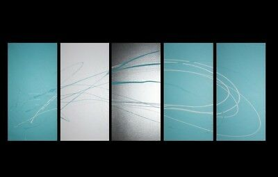 NEW 5 Piece Abstract Canvas Painting in Turquoise