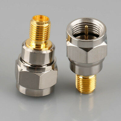 2pcs Alloy F Type Male Plug To SMA Female Jack RF Coaxial Adapter Connector