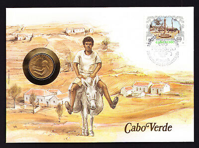 1987 Cape Cabo Verde Stamp & Coin on Cover Native Man Riding a Donkey Village