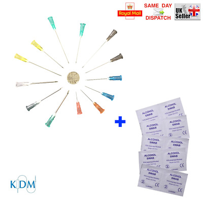 10x - 100x KDM NEEDLES + SWABS 70% ALCOTIP 10 SIZES BLUE GREEN ORANGE CYCLE