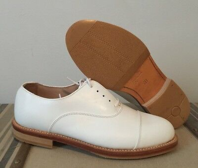 RN ROYAL NAVY WHITE LEATHER DRESS SHOES W/ CAPS - Sizes , British Military