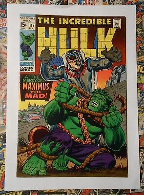 Incredible Hulk #119 - Sept 1969 - Maximus Appearance! - Vfn- (7.5) Cents Copy