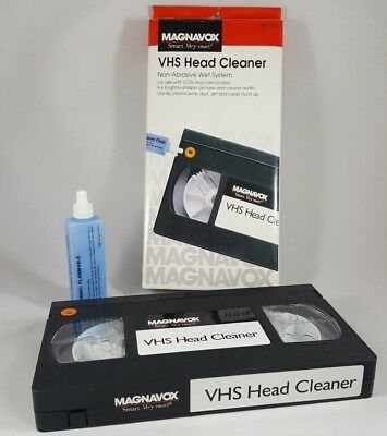 Magnavox VHS Head Cleaner Kit #M61102 with fluid bottle and cleaning tape VCR