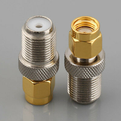 2pcs F Type Female Jack to RP-SMA Male Plug Center RF Coaxial Adapter Connector