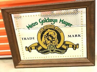 """*VINTAGE* Rare MGM MIRRORED SIGN Metro Goldwyn Mayer Trademark WOOD. 30""""inches!!"""