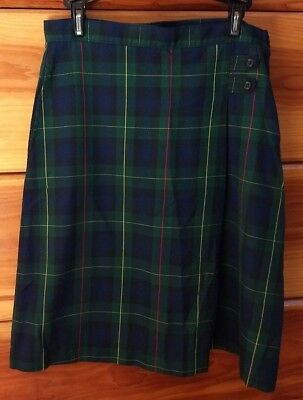 Girl's Land's End Green & Navy Plaid Skirts 8