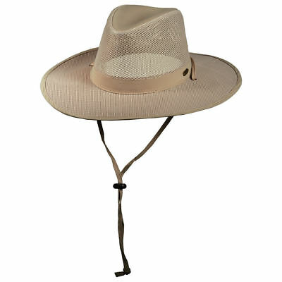 c9a2fde2ee8 New Stetson No Fly Zone Mens Mesh Covered Safari Hat with Chin Cord Size S-M