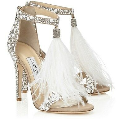 44236a66f7f JIMMY CHOO OSTRICH Feather Crystal Shoes Size 6.5! -  1