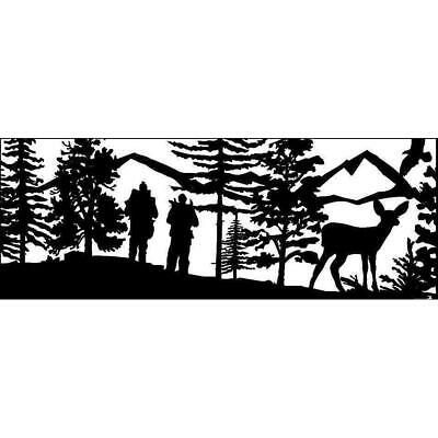 24 x 60 Two Cross Country Skiers with Eagle and Doe