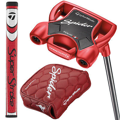 New 2018 Taylormade Spider Tour Red L Neck Lined Putter - Pick Your Length