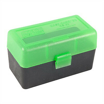 NEW MTM 50 Round Flip-Top .22-250 to 7.62 X 39 Rifle Ammo Box - Green Black
