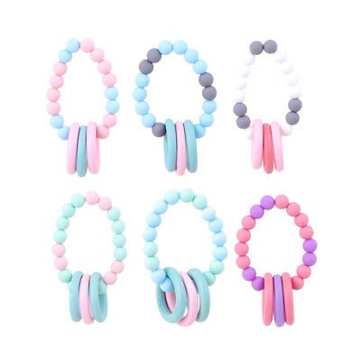Baby Teether Teething Bracelet Nursing Chew Beads Rings Wooden Play Chewing Toys