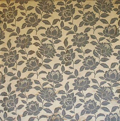 """Charcoal Black & Gold 100% Silk Damask Drapery Fabric Floral Jacquard 55"""" Wide"""