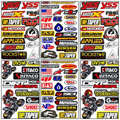 Dirt Bike Racing Decal Sticker Kit Set 6 Sheets #DR-602