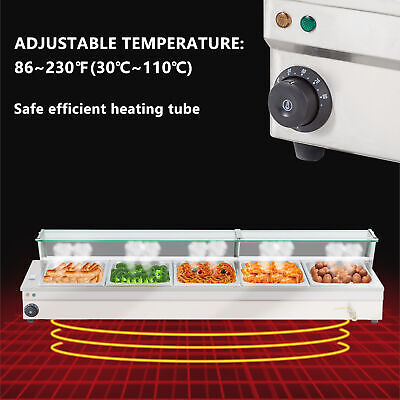 110V 5-Pan Steamer Bain-Marie Food Warmer Steam Table Buffet Countertop 1500W