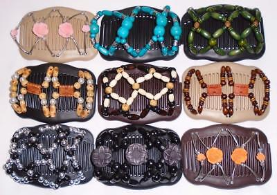 """Double Hair Combs, Angel Wings Clips 4x3.5"""", African Butterfly Style,Quality S34"""