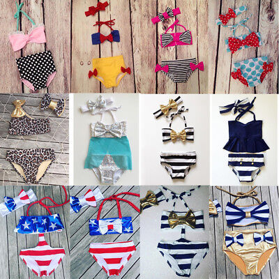 US Stock Toddler Kids Baby Girl Bikini Set Swimwear Swimsuit Bathing Suit Summer
