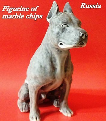 American Staffordshire Terrier figurine dog from Russia of marble chips