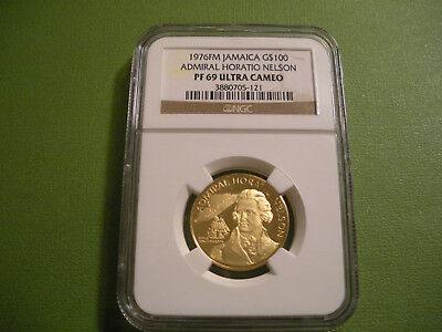 1976 Jamaica Gold $100 Admiral Horatio Nelson NGC PF 69 Ultra Cameo