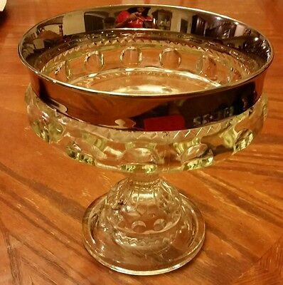 "7"" Thumbprint Tiffin Kings Crown Pressed Glass Wedding Compote Silver Vase Bowl"