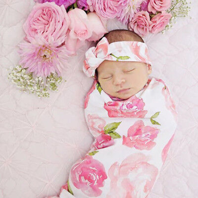 Newborn Baby Girls Floral Swaddle Blanket Sleeping Wrap With Headband Set NICE
