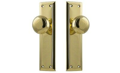 "DOOR KNOBS-""RICHMOND""-POLISHED BRASS-PERIOD deco federation-HERITAGE HANDLE SET"