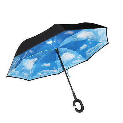 C-Handle Better Brella Double Layer Upside Down Reverse Opening Umbrella NEW