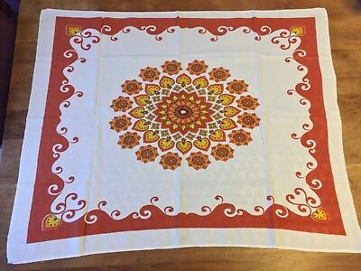 Two Groovy Vintage Belgium 1970s Orange Yellow Medallion Tablecloths -3 x 2.5 ft
